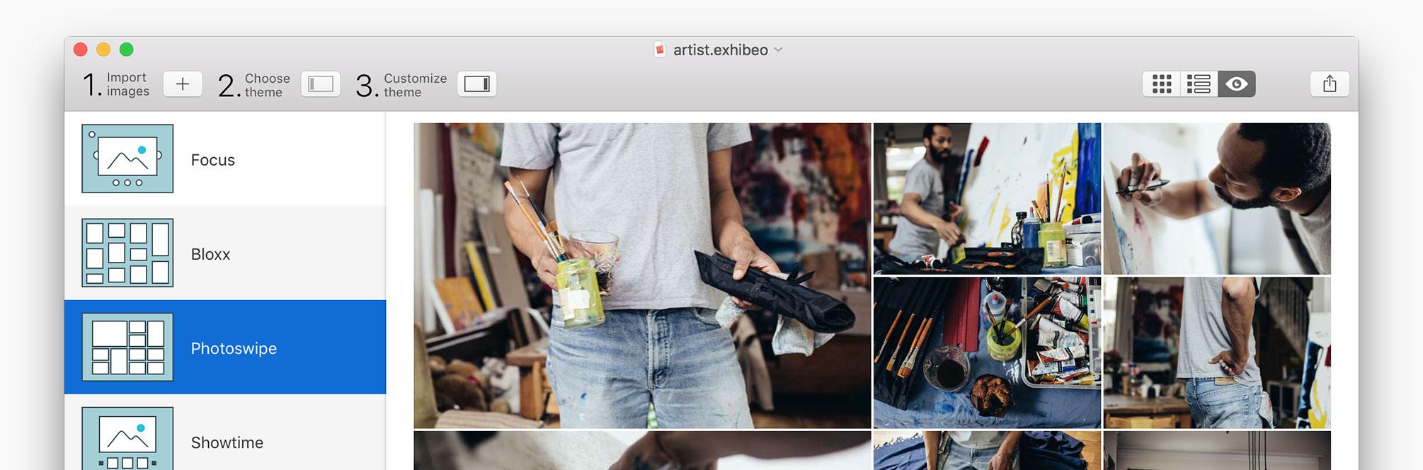 Exhibeo 2 » Easy-to-use web gallery app for Mac