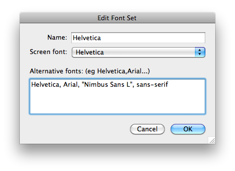 The Edit Font Set dialog containing a new font stack